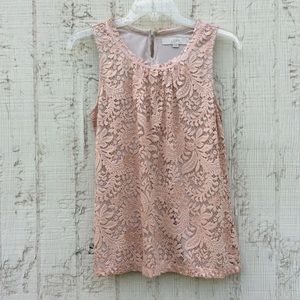 LOFT sleeveless lace fully lined top